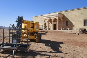 "Filming equipment outside the arched set for Pontius Pilate's palace in the TV series ""A.D."" in Ouarzazate."