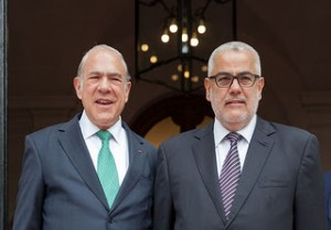 (From right) Abdelilah Benkirane, Head of the Government of Morocco with Angel Gurria, OECD Secretary-General. Paris, France.